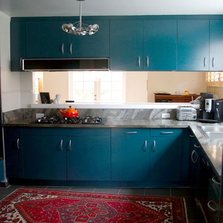 Teal Cabinets Red Rug Love KITCHEN Inspiration