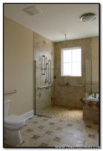 Tile bathroom wheelchair accessible finally i love it for Accessible homes