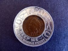 ANTIQUE 1901 PITTSBURGH BANK FOR SAVINGS INDIAN HEAD ENCASED CENT PENNY PA