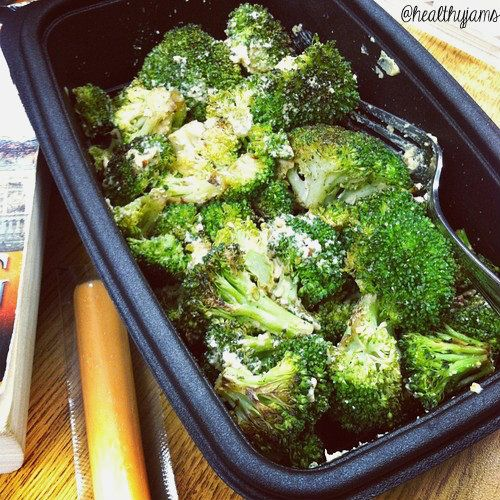 Healthy Jams' Easy Work Lunches! Roasted Broccoli and Garlic Hummus