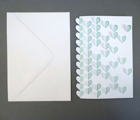 Folded Scattered Hearts Card.