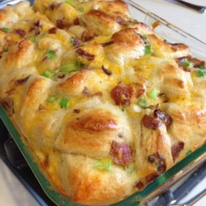 """Savory biscuit """"bread pudding"""" with bacon cheese andsausage from ..."""