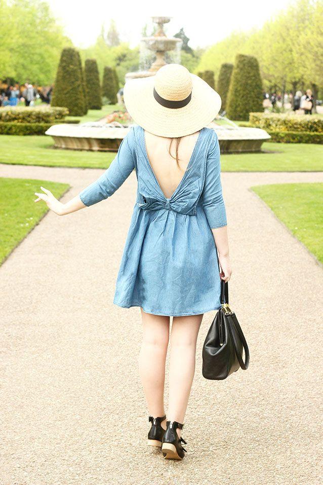 Spring Denim smock floppy straw hat outfit