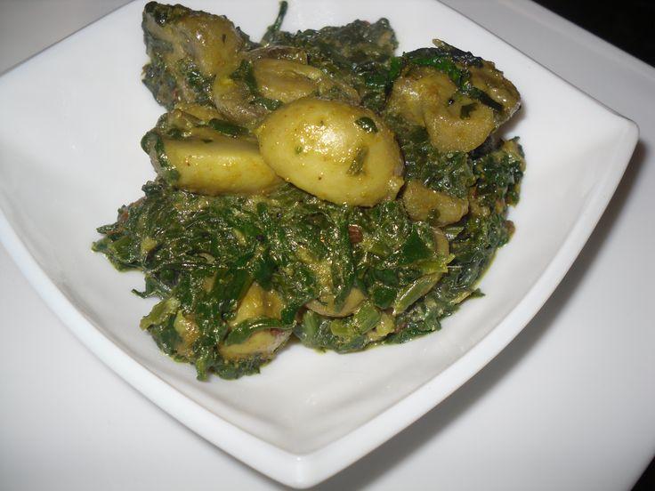 Mushroom Palak- Spinach and mushroom curry.