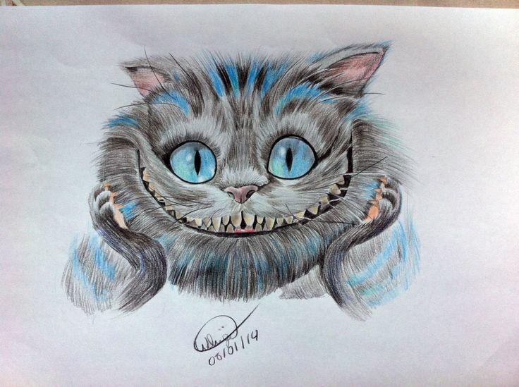 Gato De Cheshire Lapis De Cor Desenho Com L 225 Pis De Cor