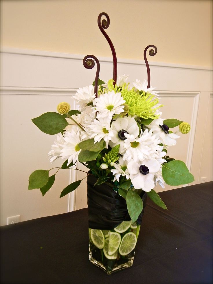 lime green and white centerpiece weddings lime black
