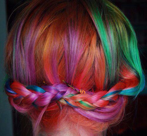 Multi color hair braid bun  Hair Different Colors  Pinterest