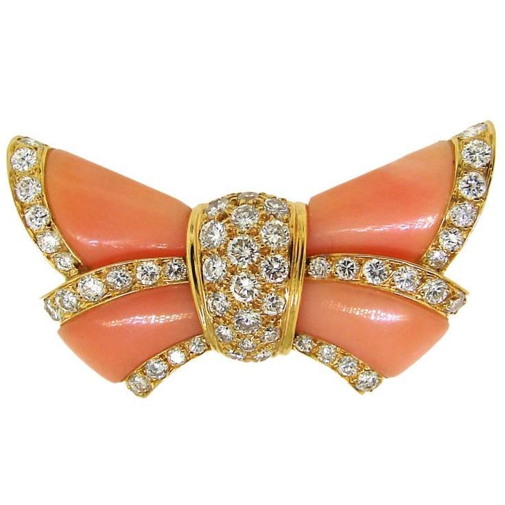 Van Cleef & ARPELS Coral, Diamond & 18-каратного желтого золота Бабочка брошь c.1960 'ы