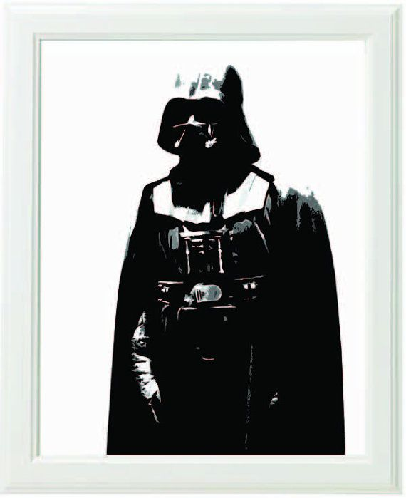Darth vader star wars 8x10 inch 20x25cm black and white for Darth vader black and white
