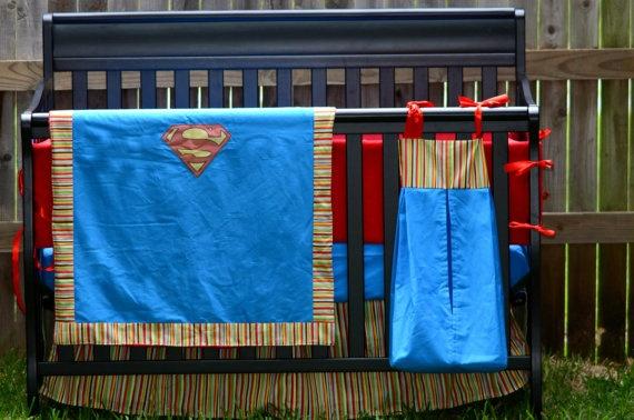 Superman inspired comic book baby bedding 4 piece crib bedding set