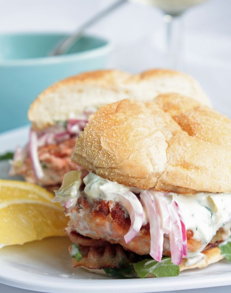 ... ...: Salmon Burger with Dill/Caper Tartar Sauce and Red Onion Ceviche