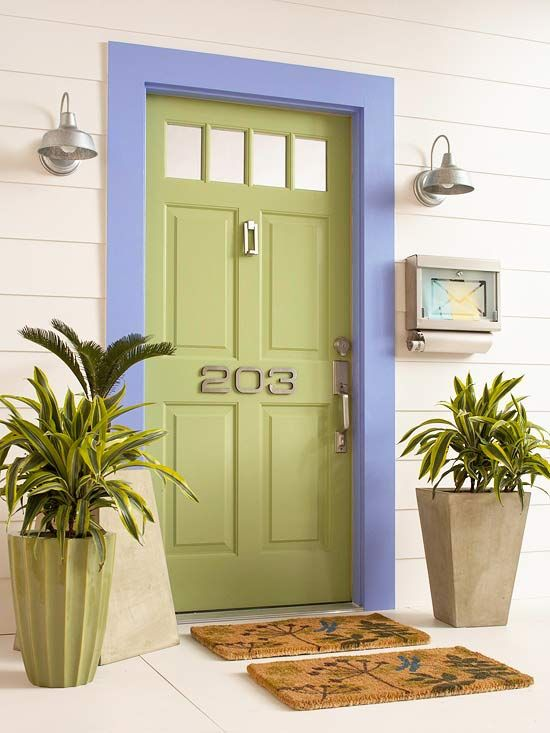 Welcome guests to your home with a colorful door! More ways to refresh your entry: http://www.bhg.com/home-improvement/exteriors/curb-appeal/refresh-your-front-entry/#page=7