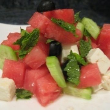 Watermelon Salad With Feta Cheese & Mint | food | Pinterest
