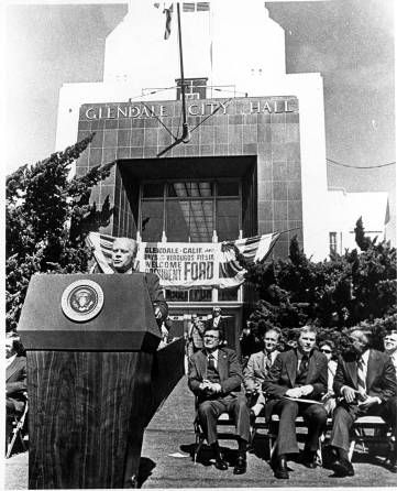 "President Gerald Ford visits Glendale in 1976 to help give the ""Annual Days of Verdugo Festival"" an impressive send-off, 1976. Glendale Central Public Library. San Fernando Valley History Digital Library."