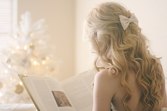 Curly with a cute bow hairstyles pinterest