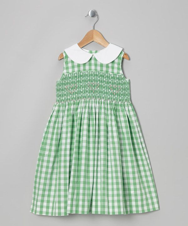 Green Gingham Smocked Dress