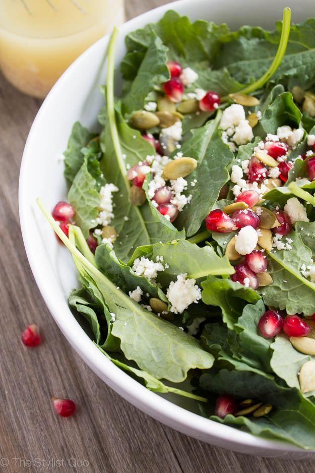 Kale, Pomegranate, and Feta Salad with Dijon Vinaigrette