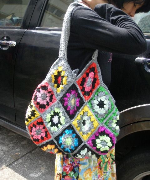 Crochet Granny Square Purse Pattern : Crocheted Granny Square bag Hooking-Purses/Bags Pinterest