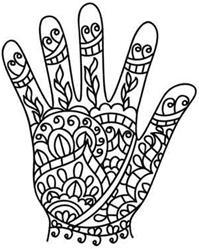 henna hand template .