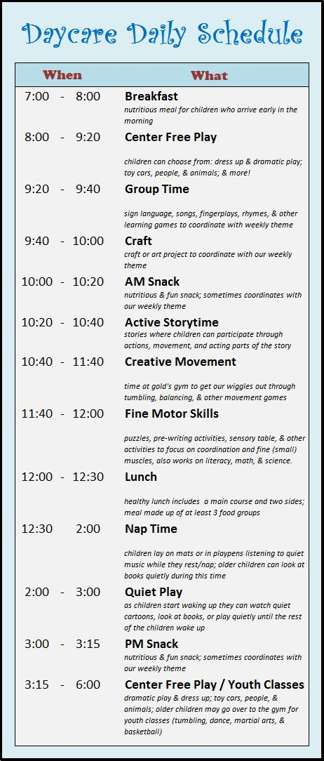 Daily Schedule Daycare Template – September printable calendars