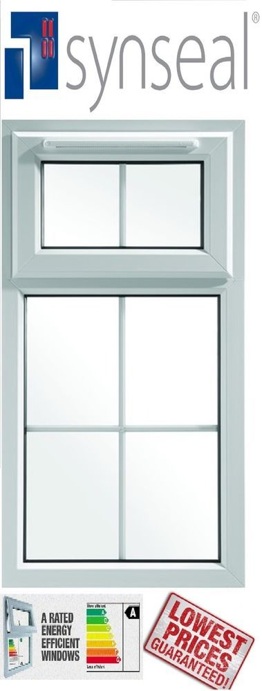 White upvc double glazed window with georgian bar top hung for Best triple glazing
