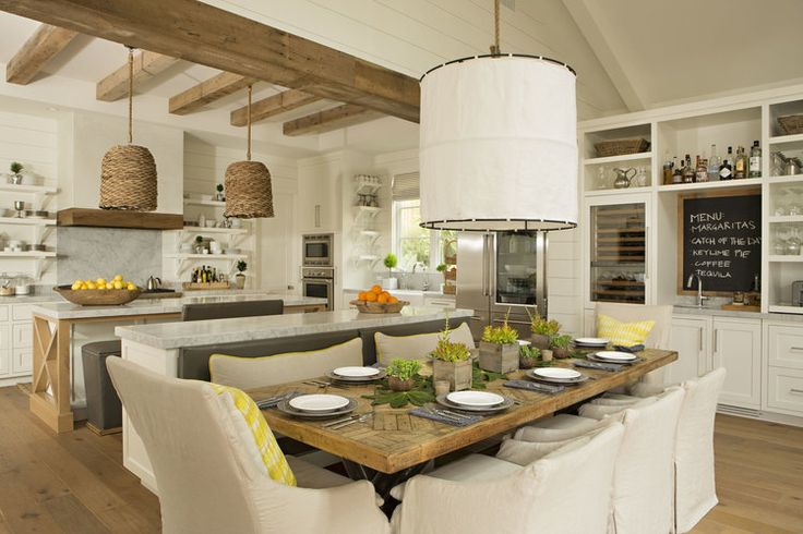 Cozy rustic cottage - love the pendant lighting, exposed beams, cream walls and kitchen