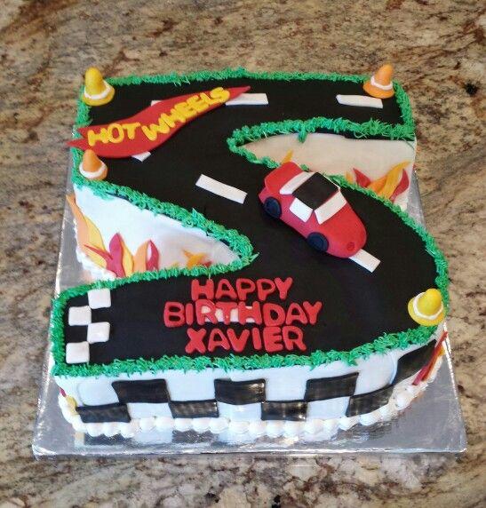 Xaviers 5th birthday Hot Wheels cake. Flames, checkerboard, race cars ...
