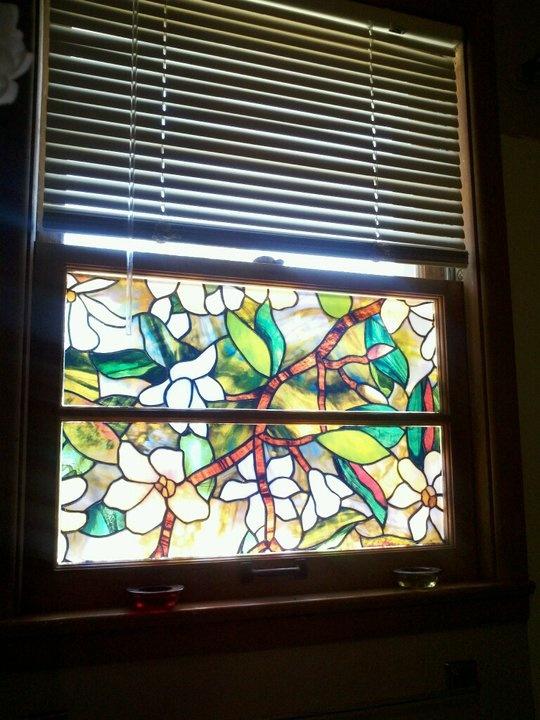 Window glass stained glass window film home depot for Stained glass window film