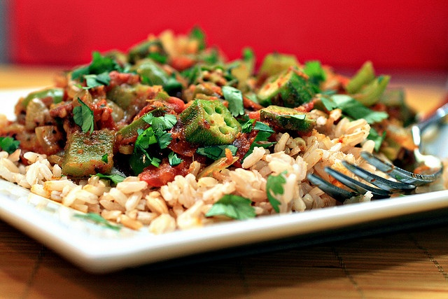 Spiced Okra - this sure isn't like the only okra I've ever had, which...