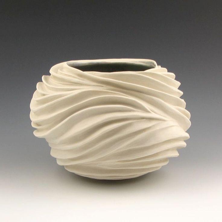 Carved sculptural ceramic pottery vessel creamy porcelain