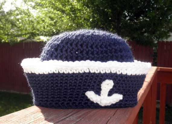 Crochet Pattern Sailor Hat : PDF Crochet Pattern Sailor Hat baby to child sizes available