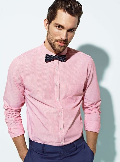 pink shirt bow tie fashion for