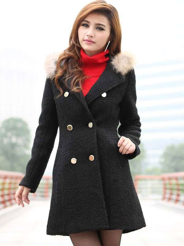Retro Black Wool Blend Double Breasted Womens Coat - Womens Coats