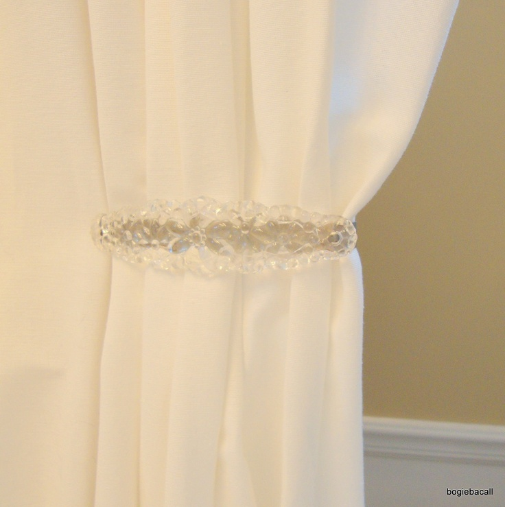 Vintage Pressed Glass Curtain Tie Backs Shabby Chic Clear Drapery Set