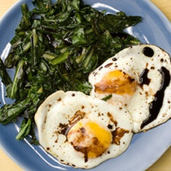 Wilted Greens with Balsamic Fried Eggs | Paleo Recipes | Pinterest