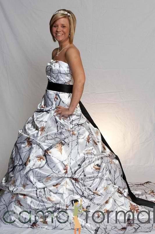 Southern Wedding Dresses With Camo Snow camo wedding dress!