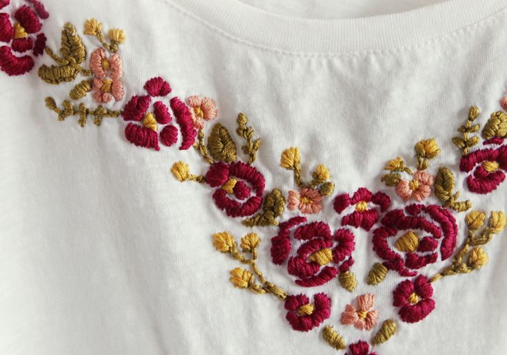 Embroidered tee shirt tutorial embroidery pinterest