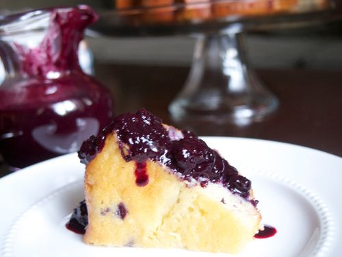 Blueberry lime yogurt cake with blueberry sauce.