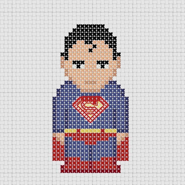 Cross stitch DC Comics Justice League Superman.