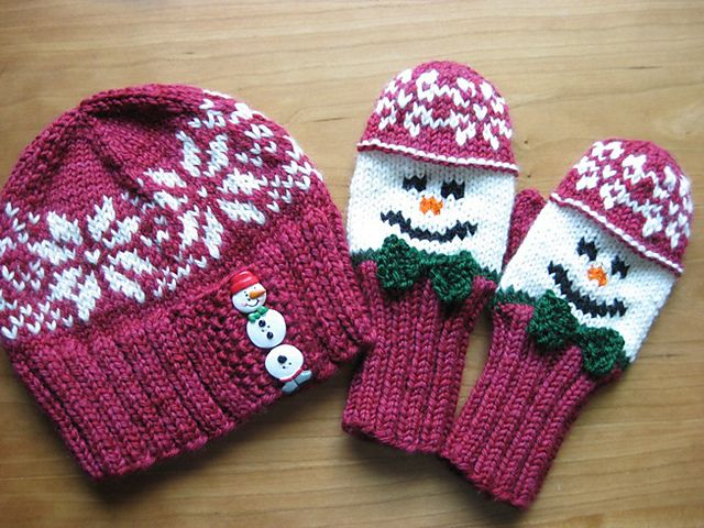 Knitting Pattern For Snowman Mittens : Snowman Hat and Mitten Set pattern by Wendy Gaal