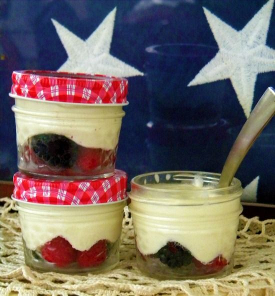 Berry and White Chocolate Mousse Parfaits in Mason Jars