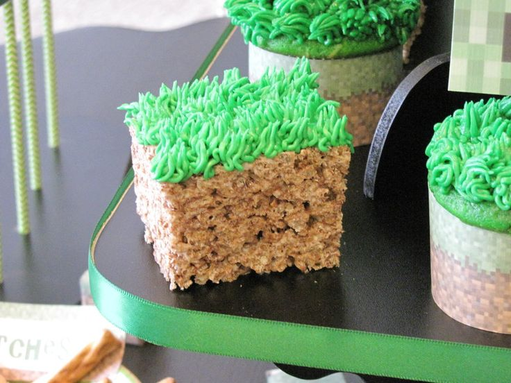 Minecraft Birthday Party Rice Krispie dirt blocks