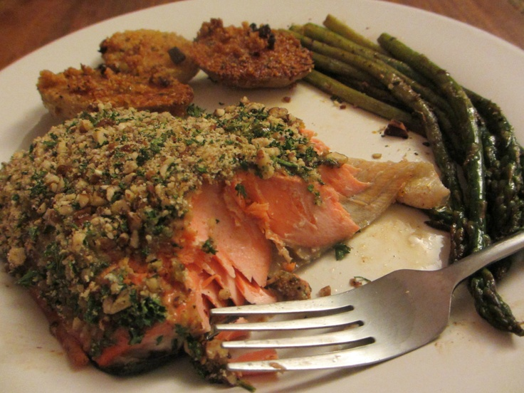 Pecan Crusted Salmon, Parmesan Baked Potatoes and Sauteed Asparagus