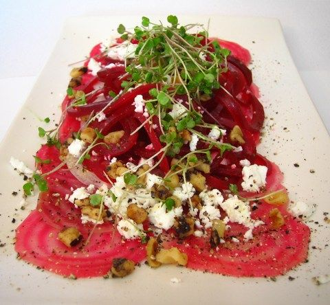 Beet Carpaccio with Goat Cheese, Microgreens and Meyer Lemon infused ...