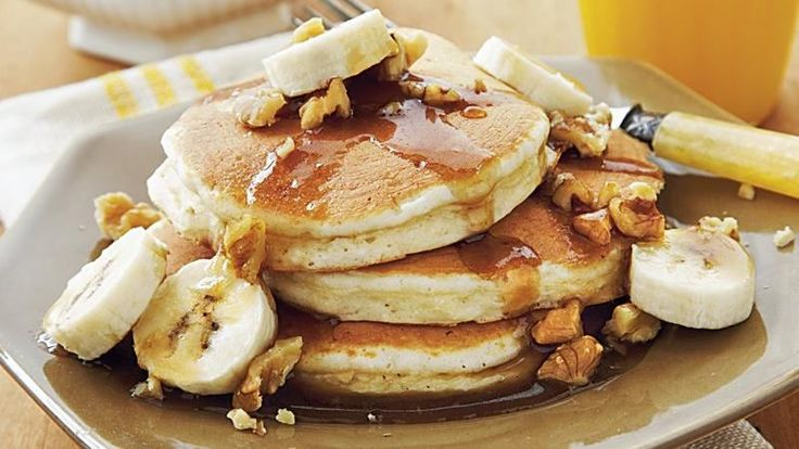 pancakes made using Original Bisquick® mix and served with banana-nut ...