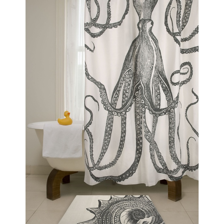 Bath octopus shower curtain in charcoal for Really cool shower curtains