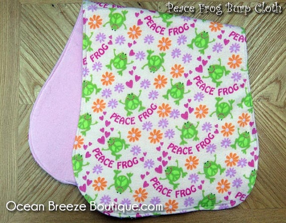 Peace Frog  Contoured Baby Girl Burp Cloth by oceanbreezeboutique, $5.00