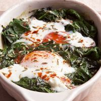 Spicy Baked Eggs with Spinach and Yogurt | Recipe