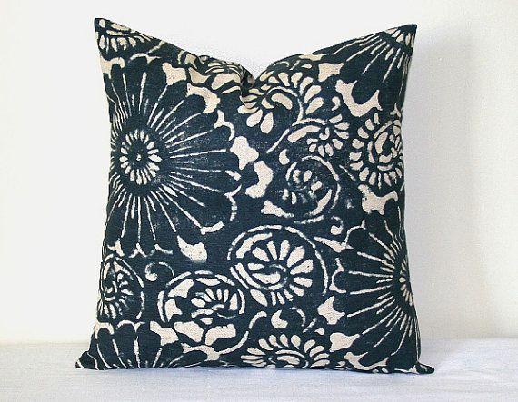 Designer Denim Navy Blue - Ivory Floral Decorative Pillow 18 inch Hom?