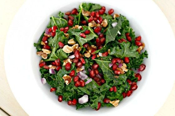 Raw Kale Salad with Pomegranate and Toasted Walnuts via @ ...